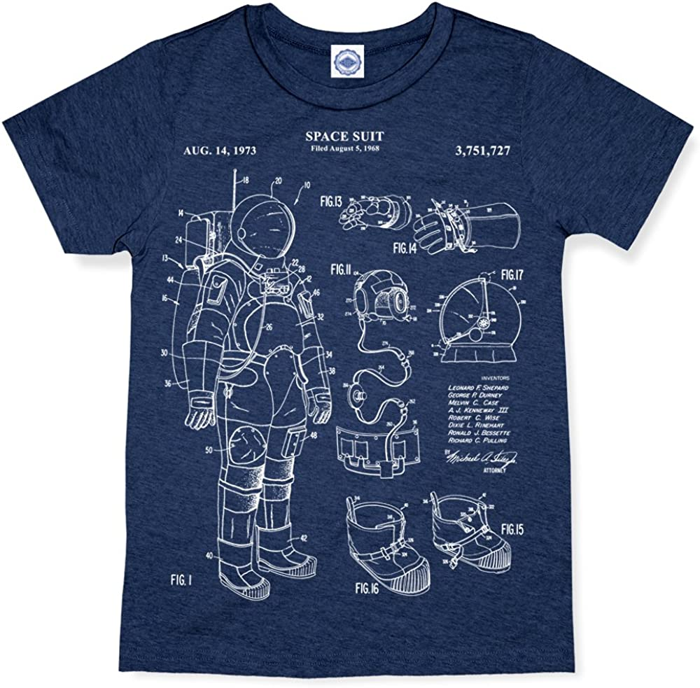 NASA Astronaut Space Suit Patent Kids T-Shirt Hank Player U.S.A