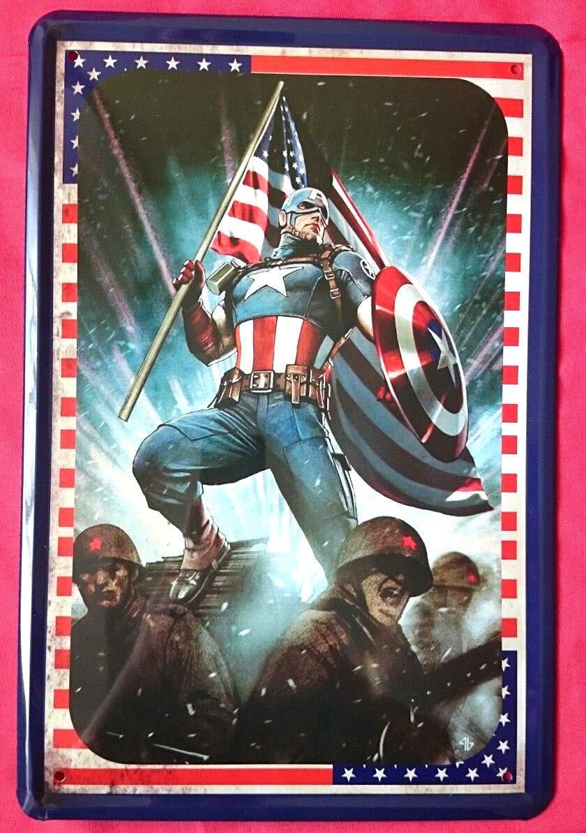 Tin Sign Cartel de chapa 20 x 30 cm Captain America Marvel ...
