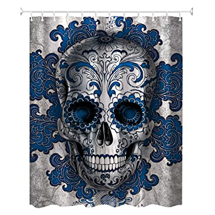 ZBLX Floral Skull Shower Curtain Blue Art Water Soap And Mildew