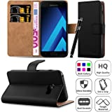 Galaxy A3 2017 Case, [Premium Leather] Wallet Book Card Case Cover Pouch For Samsung Galaxy A3 2017 [Free Screen Protector With Microfibre Polishing Cloth] & [Free Touch Stylus] (Black)