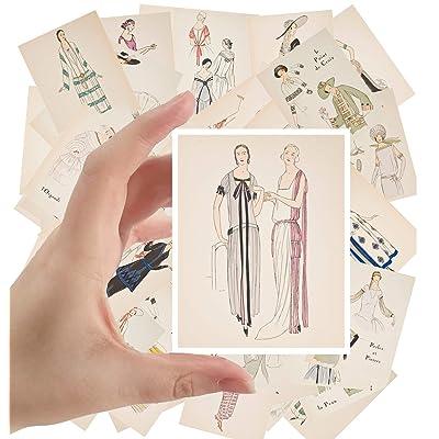 """Large Stickers (24 pcs 2.5""""x3.5"""") Vintage Fashion Dress Sketch Belle Epoque vol 1: Toys & Games"""