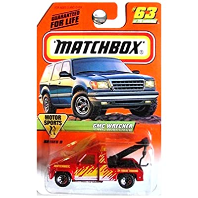 Matchbox 1998 Motor Sports GMC Wrecker Tow Truck Red and Yellow #63: Toys & Games