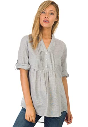 98818ab0cc4 CAMIXA Women s Linen Popover Casual Chic Tunic Shirt Relaxed Blouse Top  Cloud Grey