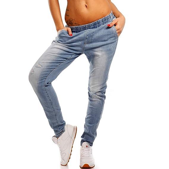 YC Fashion & Style Damen High Waist Jeans Jogstyle Joggpants Coole Jogging-Jeanshose mit Used-Look und Destroyer
