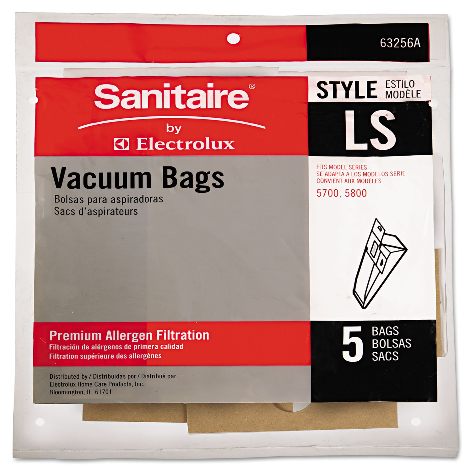 EUREKA 63256A10CT Commercial Upright Vacuum Cleaner Replacement Bags Style LS 5/Pack 10 PK/CT