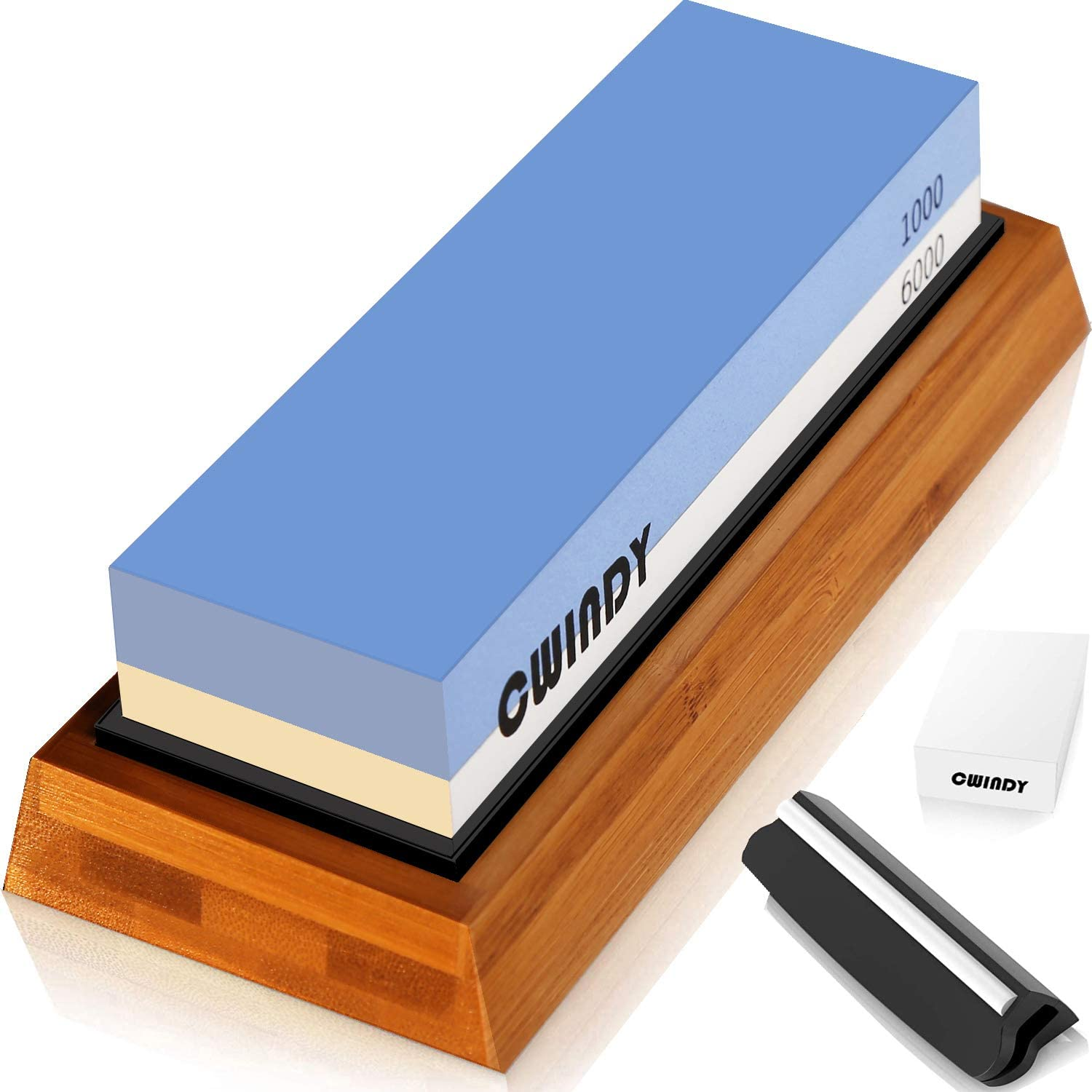 Sharpening Stone Whetstones Knife Sharpening Stones Waterstones Wetstones Wet Stones Knife Sharpener Stones 1000/6000 Grit Angle Guide, Bamboo Base and Fix Stone Included