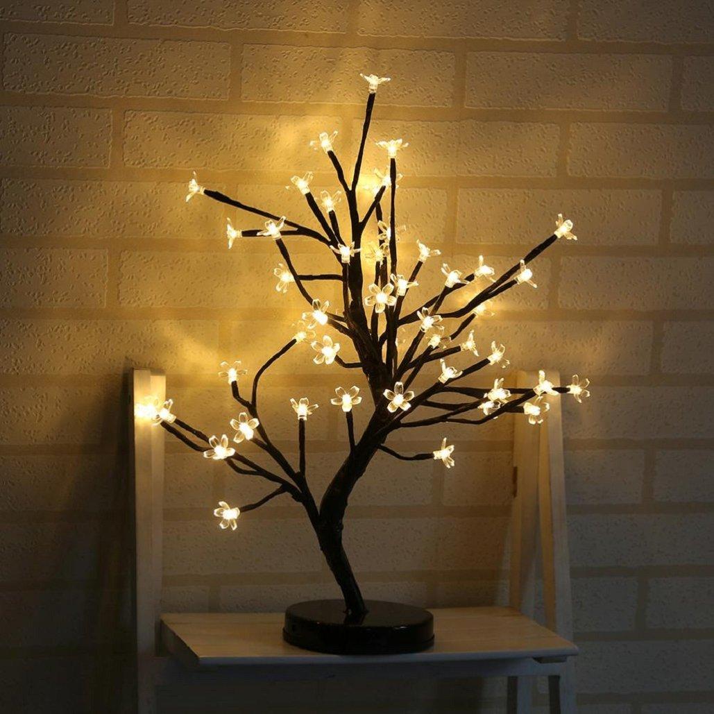 20.47 inch 48 LED Plum Blossom Desk Top Bonsai Tree Light,Waterproof,Adjustable ,Tuscom (Yellow)