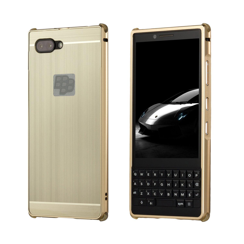 BlackBerry KEY2 Case,DAMONDY Luxury Ultra thin Imitation Metal Brushed Premium Aluminum Shockproof Protective Bumper Hard Back Case Cover for Blackberry Key 2/KEYtwo-Gold