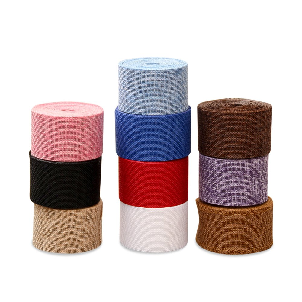 Zhi Jin 1Pc Natural Color Burlap Ribbon Roll 2inch Jute Fabric Bulk for Wedding Party Craft Gift Decoration Ornaments Beige