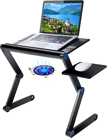 Fan Table with Fan 26cmX27.5cmX6cm-26cm Silver Breakfast Tray with USB Interface Ergonomic Computer Stand Ace xiangyv Laptop Stand Height Adjustable