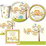 Creative Converting Happi Tree Party Supplies Pack Including Cups, Plates, Napkins, and a Table Cover for 16 Guests.