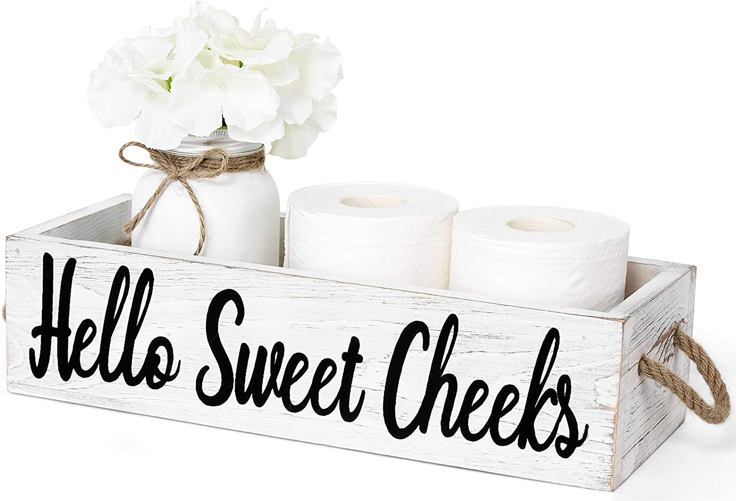 Dahey 1 Pack Farmhouse Bathroom Decor Box Toilet Paper Holder Wood Tank with Funny Sign Rustic Decor for Kitchen Table Countertop (Major Jar and Artificial Flower Included), White