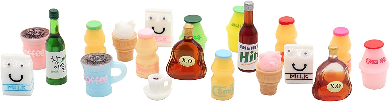 20 Pcs Miniature Food Drink Bottles Resin Bottle Props Decoration for Dollhouse Kitchen Accessories Succulent Garden