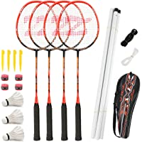 Fostoy Badminton Racket Set, 4 Pack Badminton Racquets with 3 Shuttlecocks & Net, Badminton Shuttlecock Complete Sets…