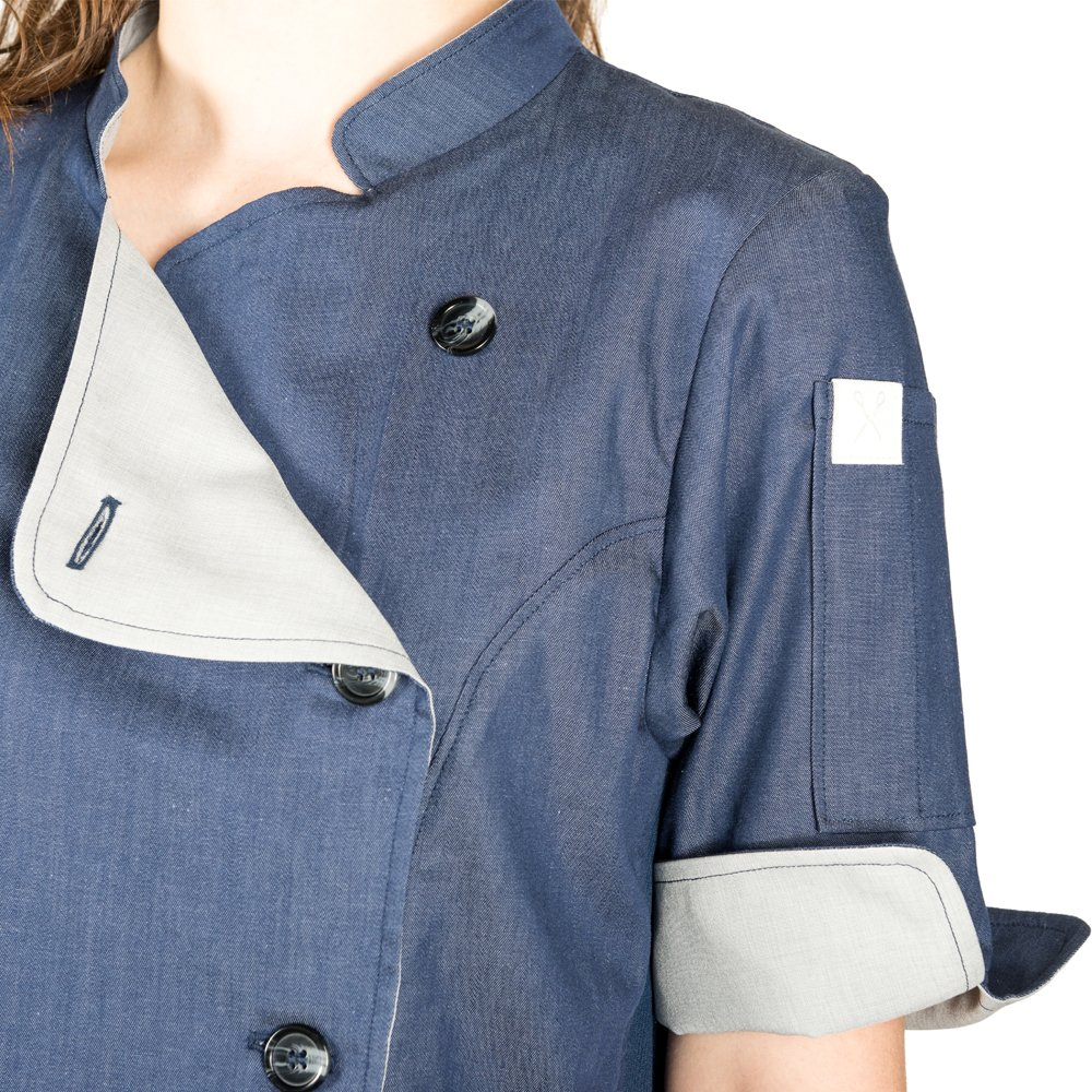 Crew Apparel Women's Chef Coat The Stephany Made In America (X-Large, Navy) by Crew Apparel (Image #3)