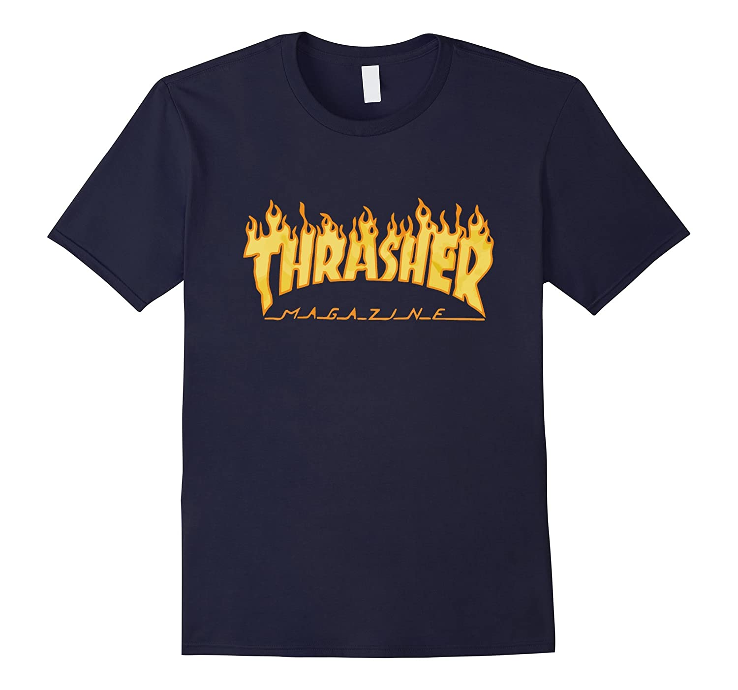 Th-rasher Flame Short Sleeve Skateboa-rd T-Shirt Black-BN