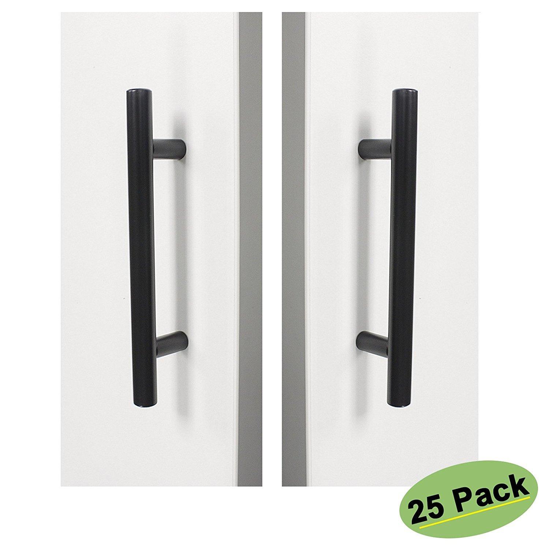 3.5 inch Kitchen Drawer Pulls Black 25 Pack - Homdiy HD201BK Vintage Bathroom Storage Cabinet Hardware Door Handles Stainless Steel Decorative Bar Cabinet Pulls Desk Dresser Drawer Handles
