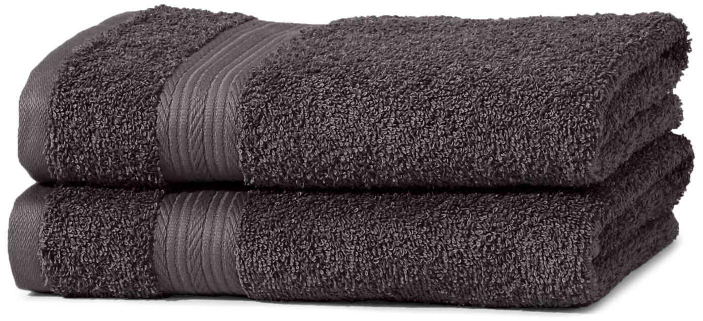 AmazonBasics - Juego de toallas (colores resistentes, 2 toallas de manos), color negro: Amazon.es: Hogar