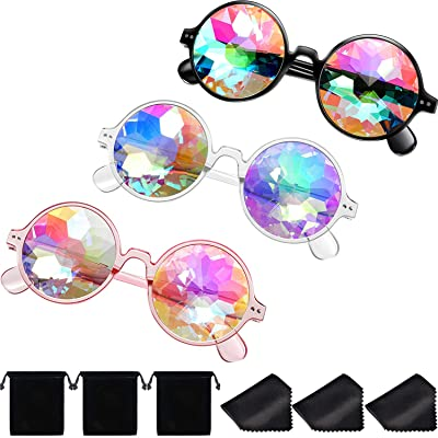 Yaomiao 3 Pieces Kaleidoscope Goggles Rainbow Prism Sunglasses with Glasses Cloth for Rave Party Festival Decoration Favors (Style A): Toys & Games