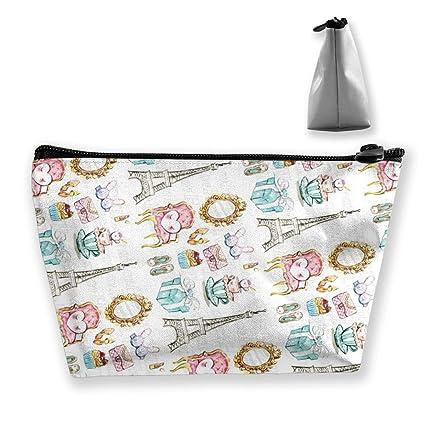 273c445c31e6 Amazon.com: RUFJHK Trapezoid Cosmetic Bags Brush Pouch Eiffel Tower ...