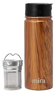 Mira Stainless Steel Tea Infuser Travel Mug | Insulated Coffee Mug Thermos with Strainer | Hot & Cold Tea Tumbler for Loose Leaf Tea | BPA-Free, Leak Proof Flip Cap | Wood, 18 oz