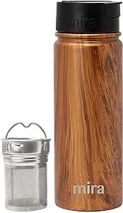 Mira Stainless Steel Tea Infuser Travel Mug | Insulated Coffee Mug Thermos with Strainer | Hot & Cold Tea Tumbler for Loose Leaf Tea | BPA-Free, Leak Proof Flip Cap 18 oz (530 ml) Wood