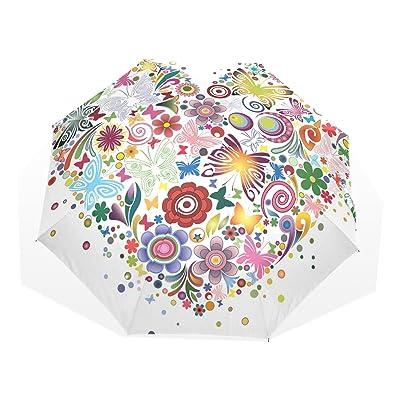 LORVIES Heart Of Flowers And Butterflies Custom Foldable Sun Rain Umbrella Wind Resistant Windproof Folding Travel Umbrella