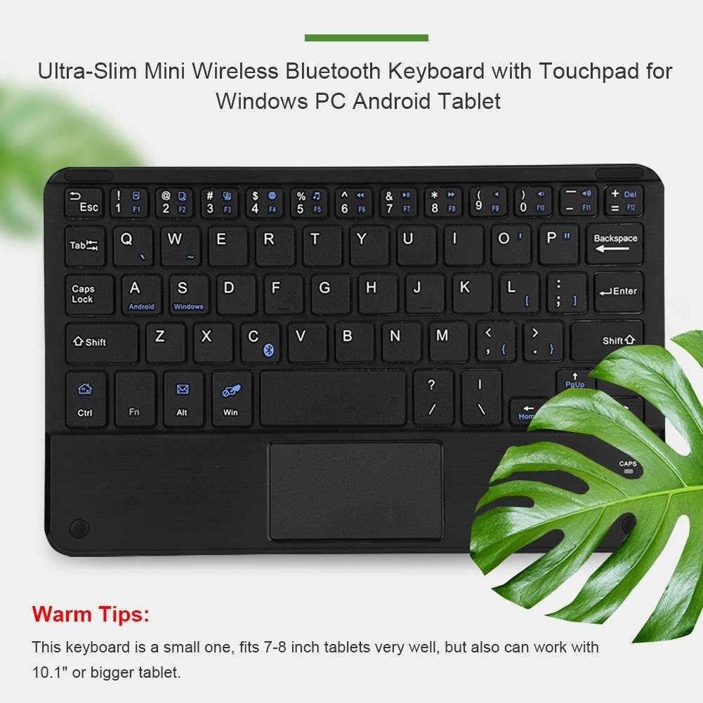 Mini Bluetooth V3.0 Keyboard,X Scissor Switch Ultra-Slim Wireless Keyboard with touchpad for PC//Tablet//Windows//Android,90 Hours Working time,Comfortable Typing,10m Working Distance