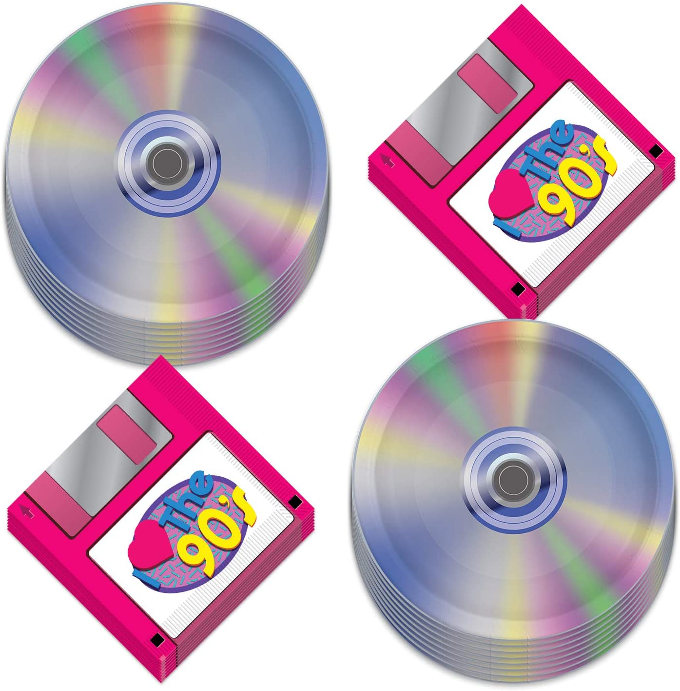 90's Party Supplies - Floppy Disk Napkins and CD Paper Plates (Serves 16)