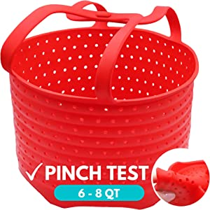 WaveLu Silicone Steamer Basket – [Pinch Tested] Instant Pot Accessory for Insta Pot 6 & 8 Quart IP, Ninja Foodi & Similar Size Pressure Cooker Accessories