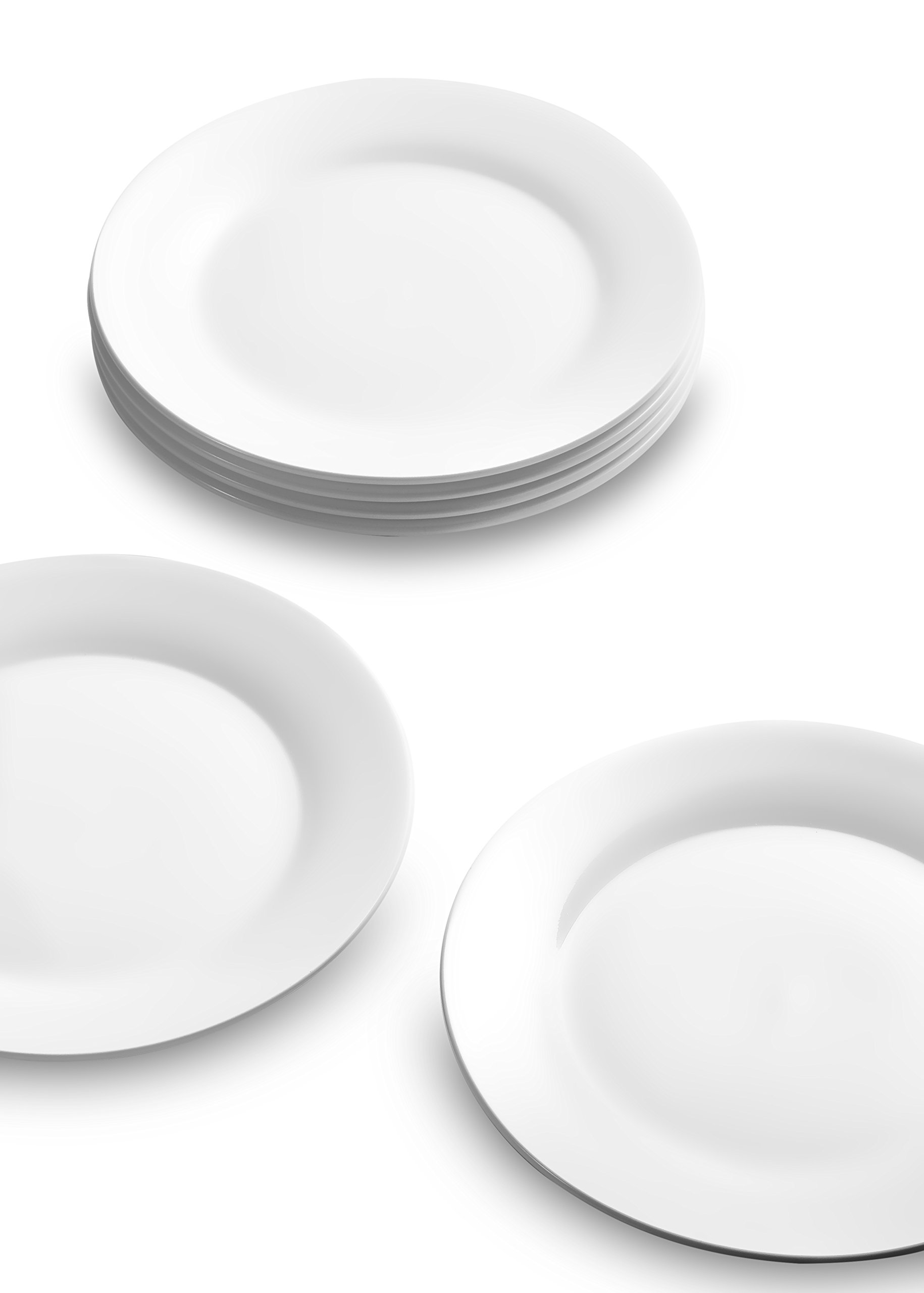 Nucookery 8 Inch White Dinner Plates | Porcelain Dishes | Medium, Microwave-Safe, Dishwasher-Safe 6pc Ceramic Dinnerware Set (8 Inch) by Nucookery (Image #3)
