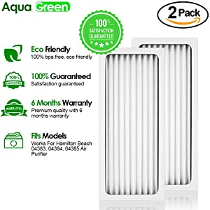Aqua Green Hamilton Beach True Air 04383 04384 04385 990051000 Comparable Air Purifier Filter 2-Pack