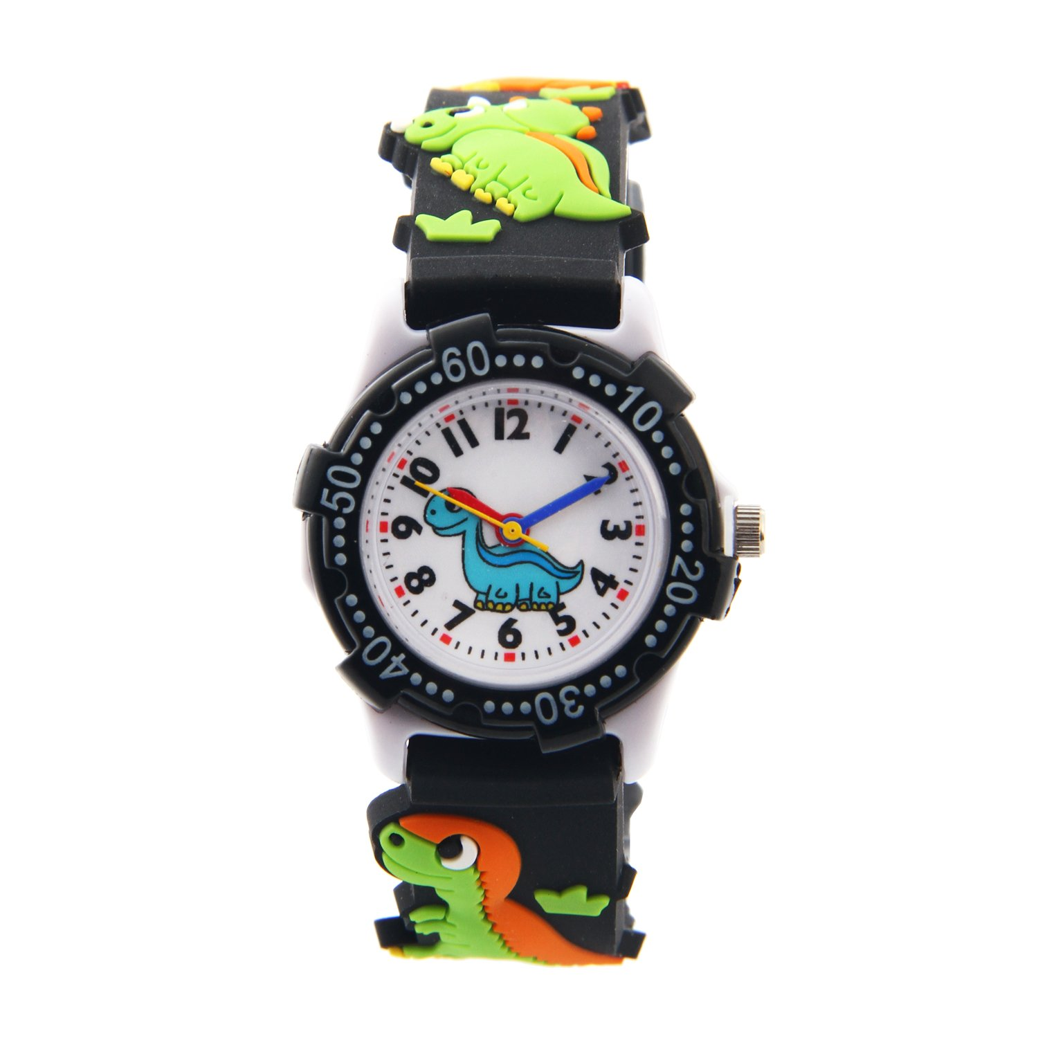Vavna Little Girls Boy Waterproof 3D Watch Cute Cartoon Digital Wrist watches Kids Children Christmas Gift (Black dinosaur)