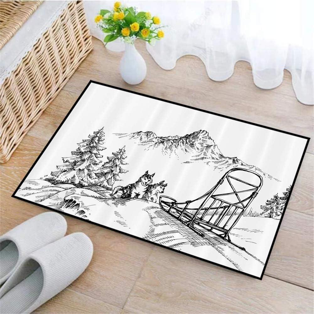 zerbino assorbente per bagno doccia Paesaggio montano in slitta invernale Cani Pini Arte antiscivolo Tappetino da bagno Morbido tappeto da bagno in microfibra,Alaskan Malamute corridoio,45 x 75cm
