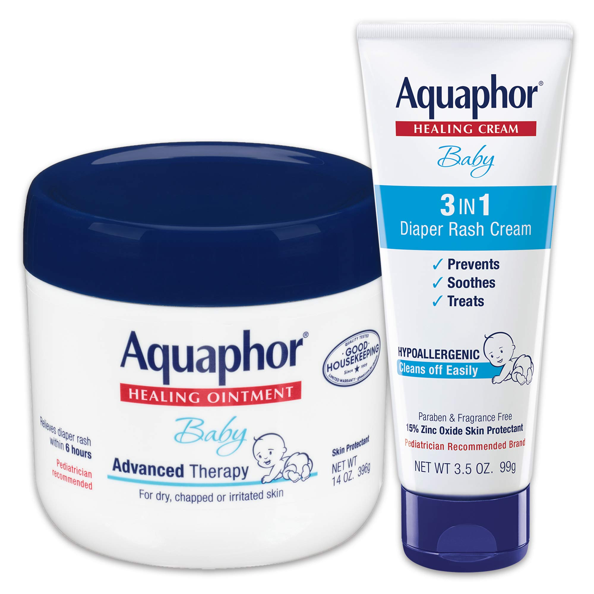 Aquaphor Baby Skin Care Set - Fragrance Free, Prevents, Soothes and Treats Diaper Rash - Includes 14 oz. Jar of Advanced Healing Ointment & 3.5 oz Tube of Diaper Rash Cream by Aquaphor