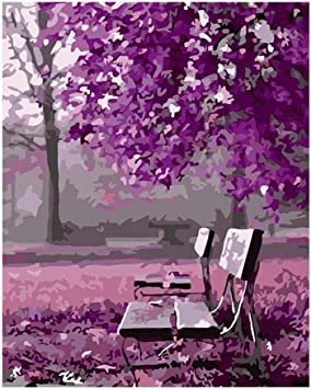 DIY Digital-Ölgemälde Lila Bäume für Wohnzimmer Digital Arts Decor , Framed: Amazon.de: Küche & Haushalt