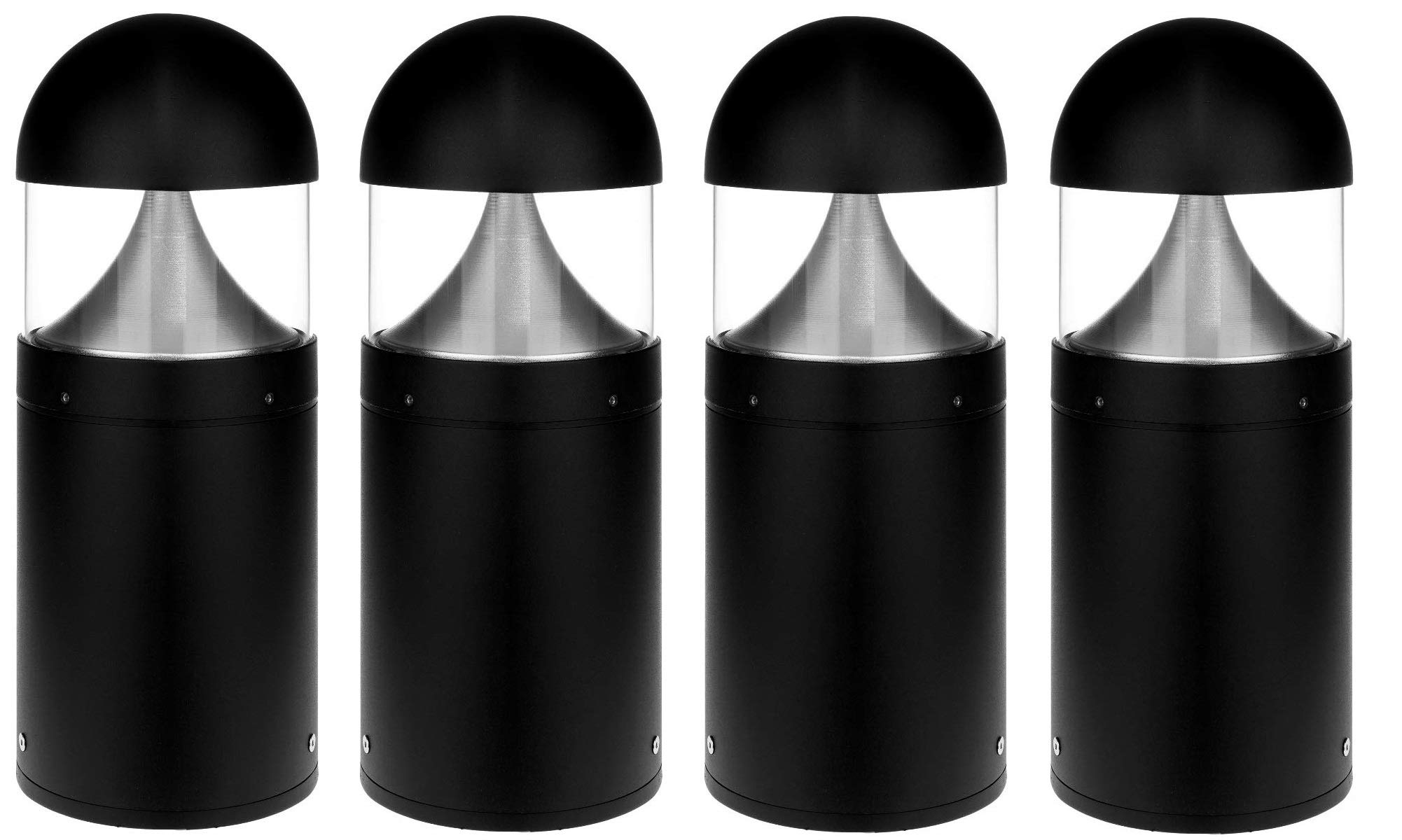 LED Bollard Landscape Lights 16'' 10W 3000K 120-277V Commercial/Residential Lighting Fixture for Garden, Pathway, Driveway. Rated IP65 Suitable for Wet Locations, ETL Listed (4 Pack)
