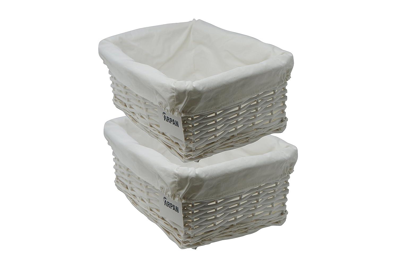 Medium- W36xD25xH15cm 2 x 100% Eco-Friendly White Wicker storage ...