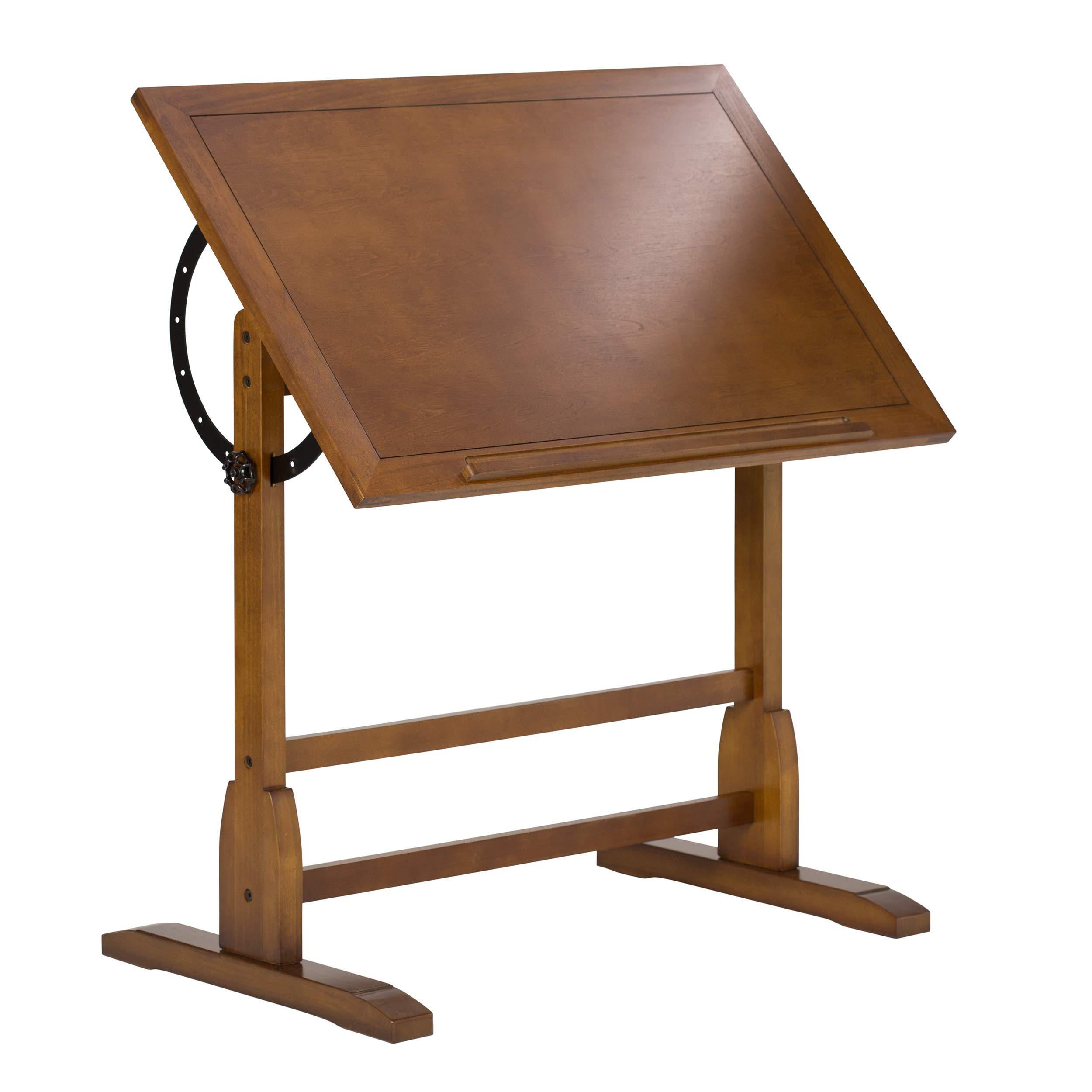 Studio Designs Vintage Rustic Oak Drafting Table, Top Adjustable Drafting Table Craft Table Drawing Desk Hobby Table Writing Desk Studio Desk, 36''W x 24''D by SD STUDIO DESIGNS