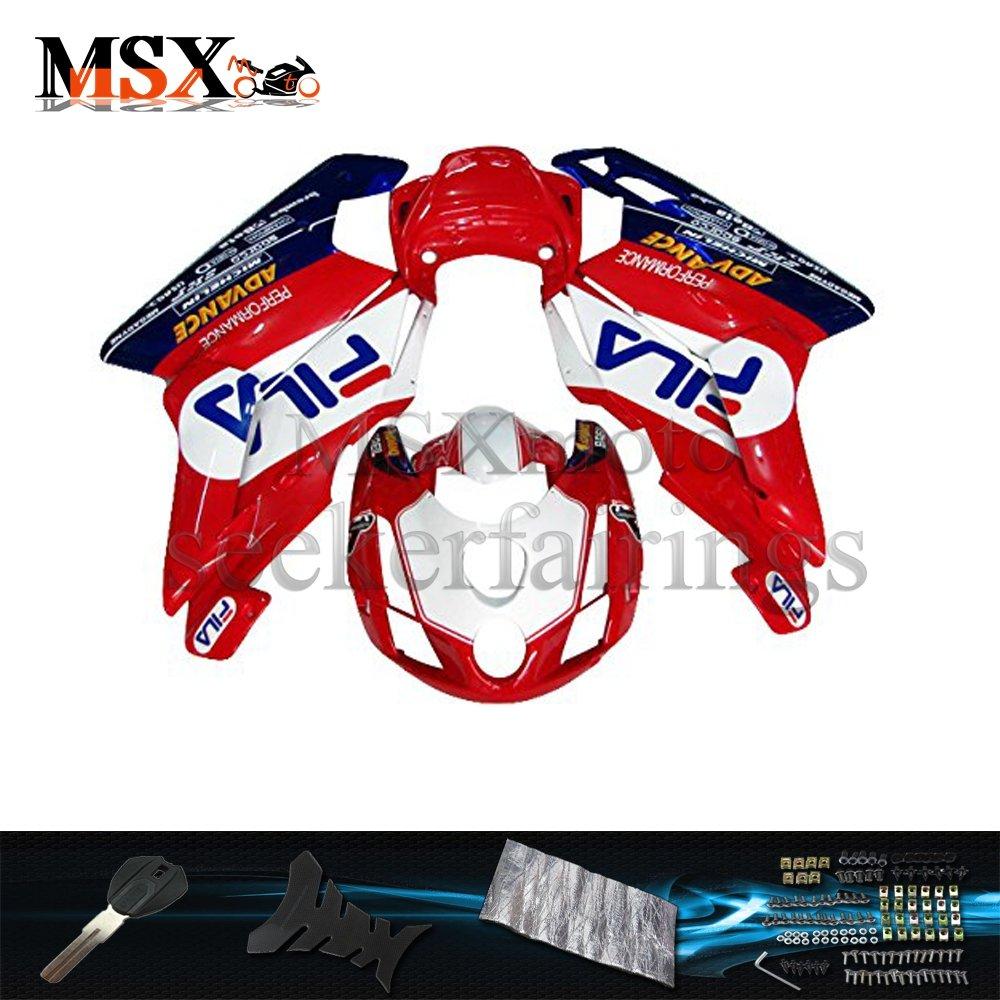 MSX-moto 適応ドゥカティPanigale Ducati 999 2003 2004 Ducati 749 03 04年 外装パーツセット ABS射出成型完全なオートバイ車体 赤/レッド&白/ホワイトのボディ   B07F34WMFK