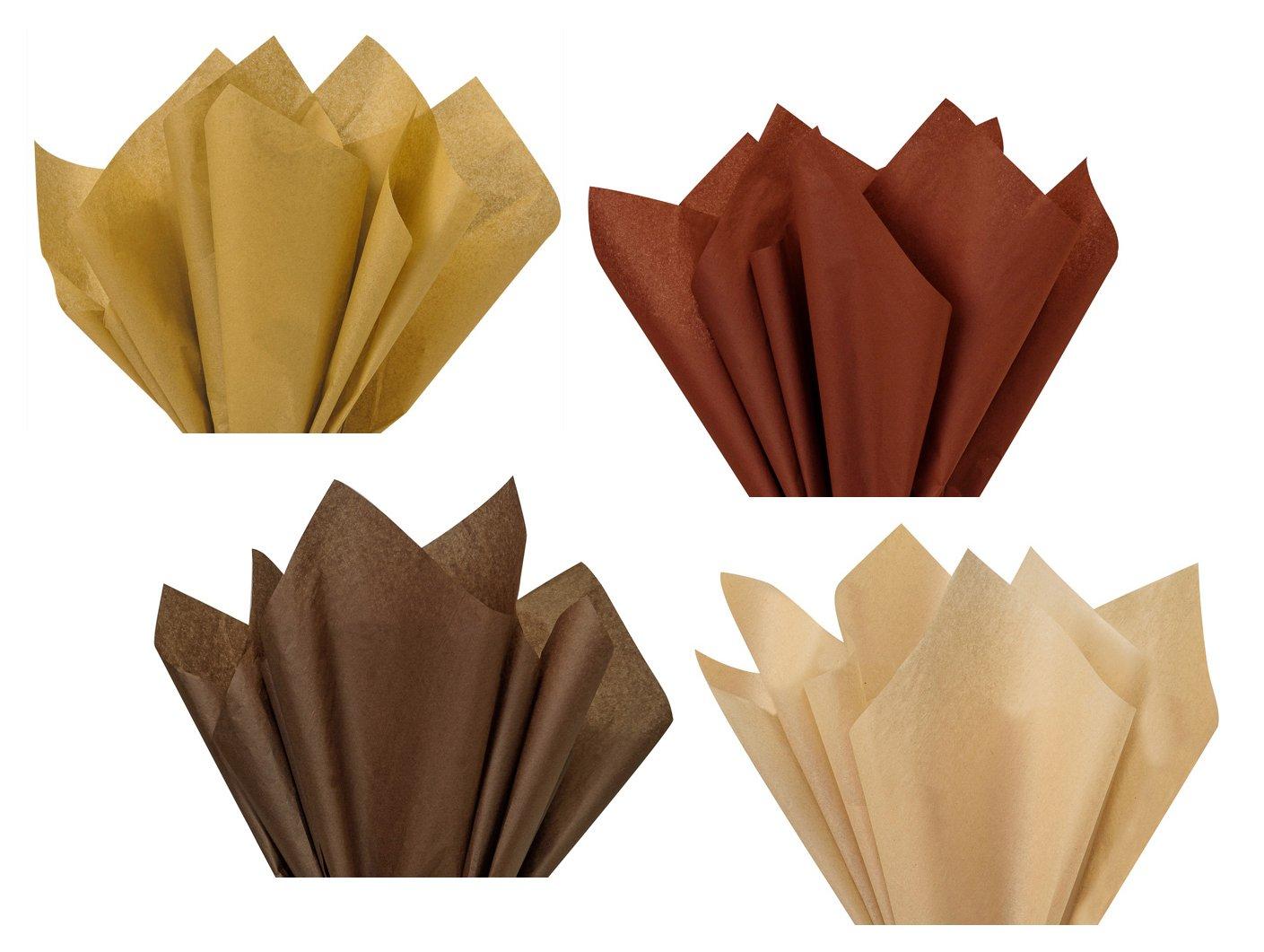 Coffee Chocolate Tan Dark Light Brown Assorted Mixed Color Multi-Pack Tissue Paper for Flower Pom Poms Art Craft Party Gift Bag Basket Filler Secret for Longevity