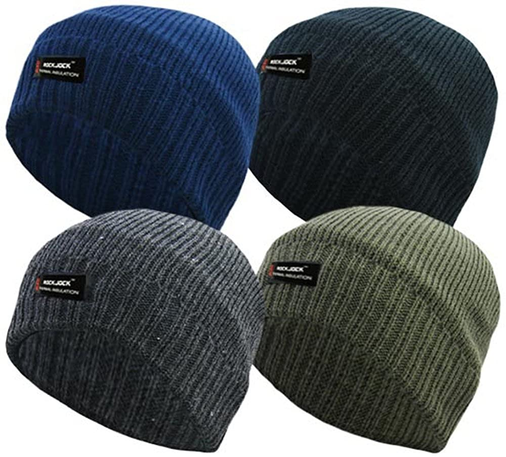 85f5ccea968b9 MENS PLAIN THINSULATE BEANIE HAT THERMAL FINE RIB ROCKJOCK WINTER FLEECE  LINED (BLACK)  Amazon.co.uk  Clothing