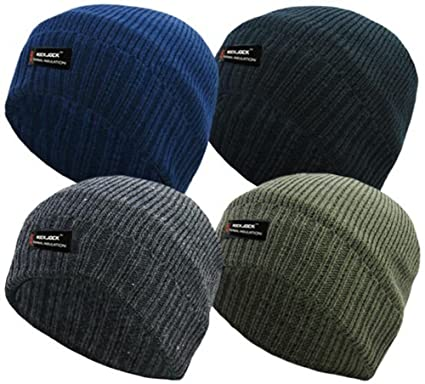 141e639c3456a MENS PLAIN THINSULATE BEANIE HAT THERMAL FINE RIB ROCKJOCK WINTER FLEECE  LINED (BLACK)  Amazon.co.uk  Clothing