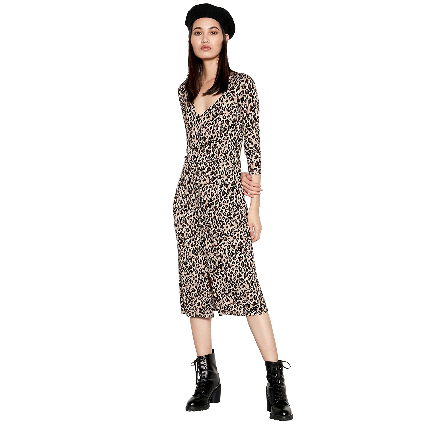 fbd6880fc13 Red Herring Womens Brown Animal Print Button Through Midi Dress  Red Herring   Amazon.co.uk  Clothing