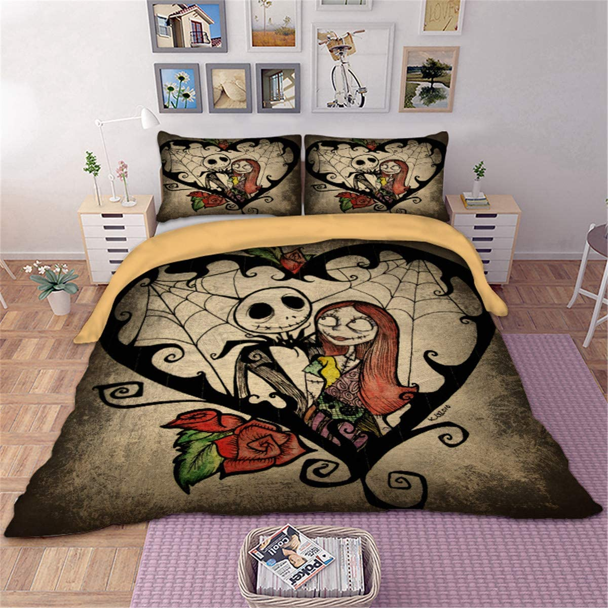 """Duvet Cover Set 3D Printed Skull Nightmare Before Christmas Bedding Quilt Cover with Zipper Closure and 2 Pillowcases for Kids Teens Adults King Size (90""""x 103"""")"""