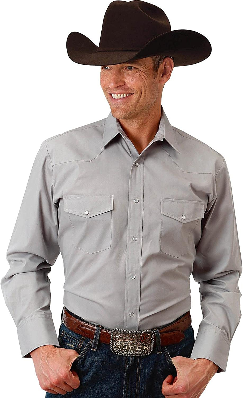 Roper Mens Grey Solid Broadcloth Long Sleeve Shirt 01-001-0025-0316 Gy
