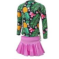 qyqkfly Girls' Pineapple Long Sleeve Rash Guard 2-Piece UPF 50+ UV Swimsuit Set 4Y-15Y (FBA)