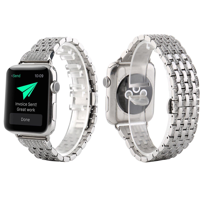 クリスタルラインストーンダイヤモンドバンドfor Apple Watch、baokai Luxuryステンレススチールブレスレットストラップfor Apple Watchシリーズ1 2 3すべてのモデル38 mm 42 mm --4色 38mm|シルバー シルバー 38mm B0787W71C6