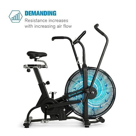 CAPITAL SPORTS Strike Bike • Bicicleta estática • Cardioentrenador • Ventilador de resistencia • Ordenador integrado • Bluetooth • Altura y fondo ajustables ...