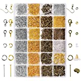 Paxcoo 2880 Pcs Jewelry Making Findings Supplies Kit with Open Jump Rings, Lobster Clasps, Crimp Beads, Screw Eye Pins…